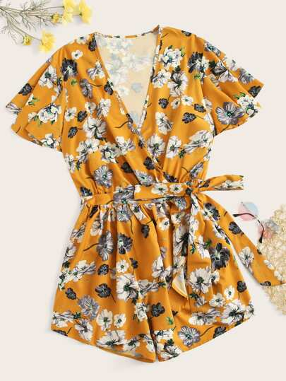 3ffc85f0459 Plus Surplice Front Floral Print Belted Romper