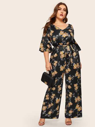 c650a4f3e7b Plus Wide Leg Floral Print Belted Jumpsuit
