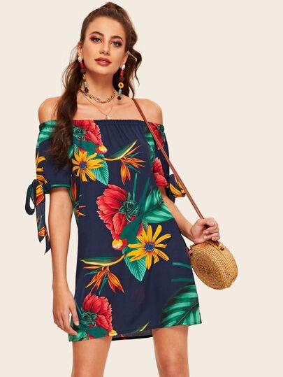 58ec04898e Off The Shoulder Floral Print Knot Cuff Dress