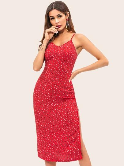 ef7f74f739c Calico Print Slit Side Cami Dress