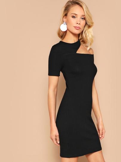 a0714238162 Asymmetrical Cutout Shoulder Ribbed Bodycon Dress