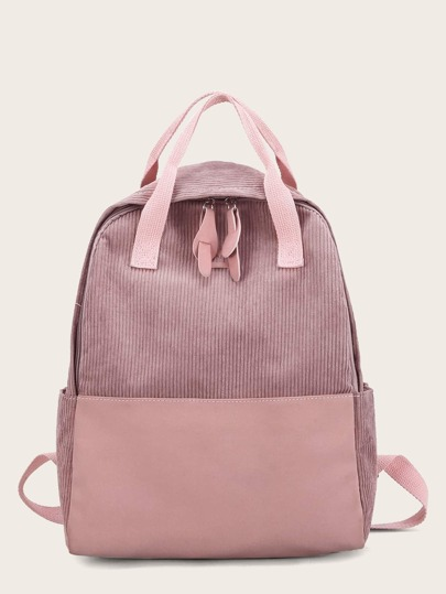 a7b1b5ddfd PU Panel Corduroy Backpack