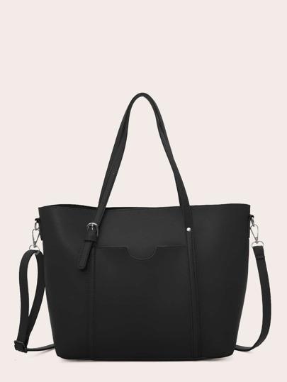 de0cda6577 Buckle Detail Shoulder Bag With Double Handle