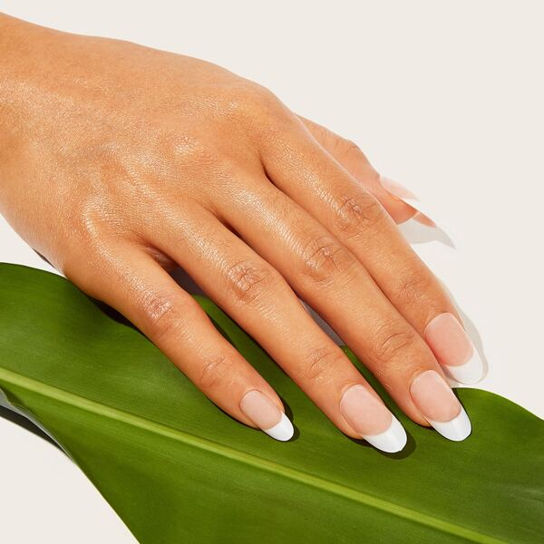 Almond Fake Nails 24pcs With Tape, White