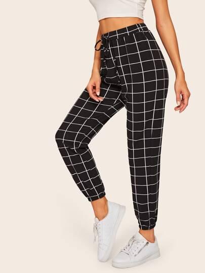 4007d979e5a Grid Drawstring Waist Elastic Hem Pants