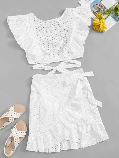 6c41d79656 Lace Eyelet Ruffle Knot Top   Wrap Belted Skirt Set