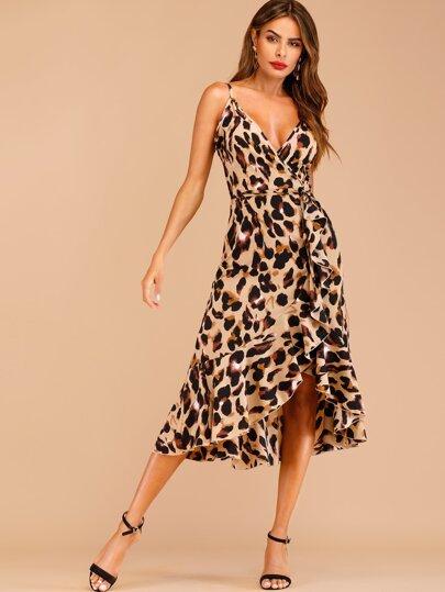 Leopard Print Ruffle Hem Wrap Cami Dress c55b79317