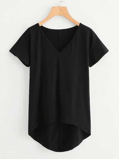 f6c5b5f55f6b1 Plus Solid High Low Hem V-neck Tee