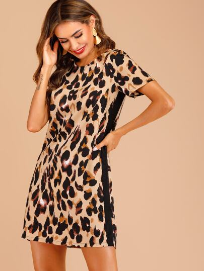 553c0b8da2aeca Contrast Panel Leopard Print Dress