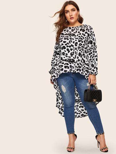 d22ea60c4c09e9 Plus Dip Hem Leopard Print Blouse