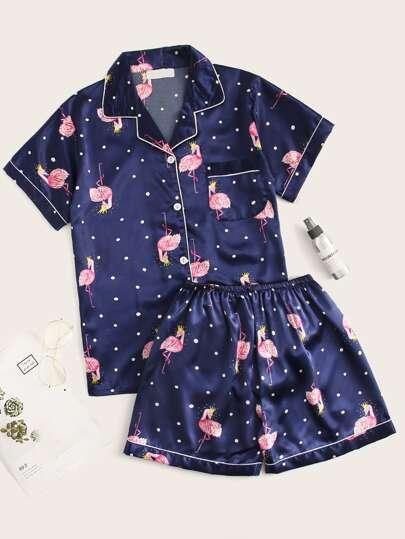 Flamingo Print Polka Dot Satin Pajama Set d42590762