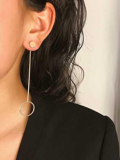 Golden Minimalist Metal Ring Drop Earrings