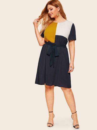 77d0bceb8d Plus Waist Belted Color Block Dress
