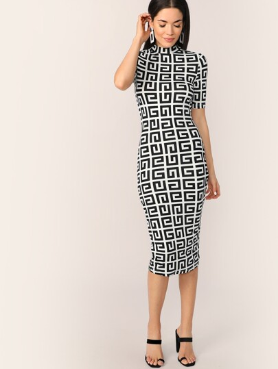 43e1f8ae5c Mock-neck Greek Fret Fitted Pencil Dress