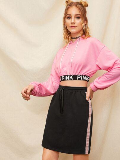 4a154ba466 Drawstring Waist Crinkle Tape Side Skirt