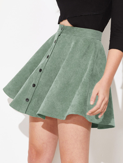 72f4f830e8 Button Up Flare Corduroy Skirt