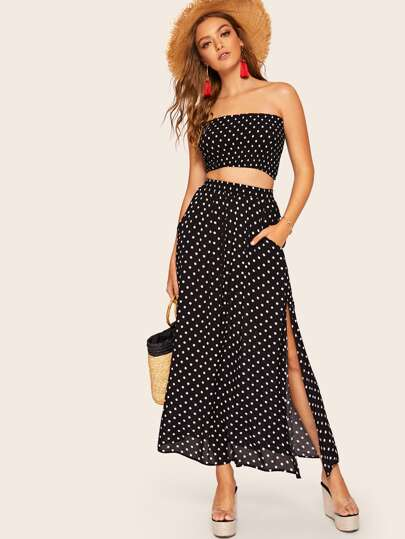 e9a42c248a5 Polka Dot Shirred Bandeau Top   Maxi Skirt Set