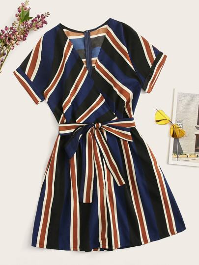 940ba1f70c7c Striped V-neck Self Tie Romper