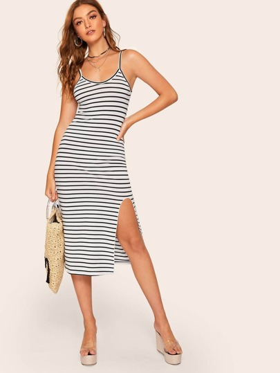 7307d1733f9204 Striped Split Hem Cami Dress