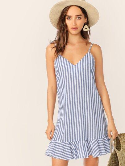 0816911047 V-neck Striped Ruffle Hem Slip Dress