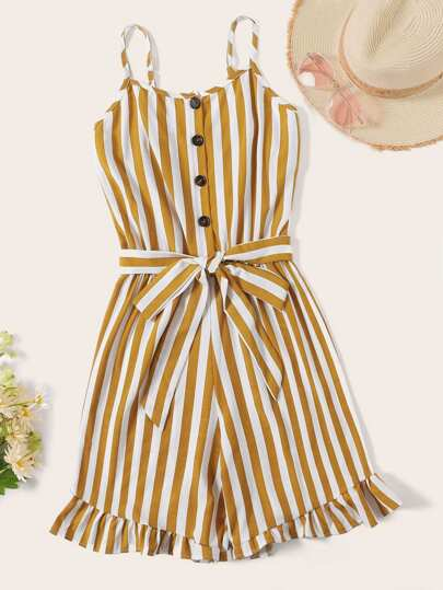 f858d0421cd Plus Ruffle Hem Button Striped Romper