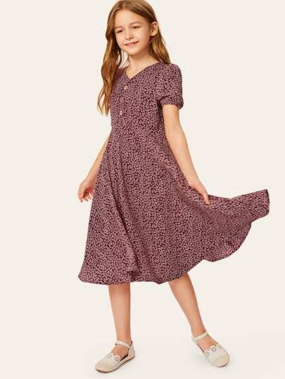 486a62c99b8 Girls Ditsy Floral Half Button Flare Dress