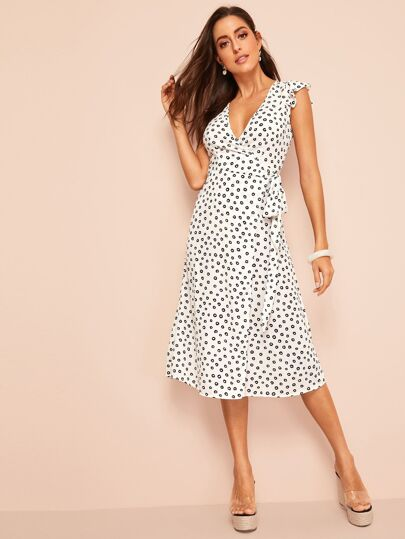 5e6cd061a6 Ruffle Armhole Surplice Wrap Allover Print Dress