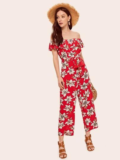 62760010cfd Flounce Off Shoulder Belted Floral Jumpsuit