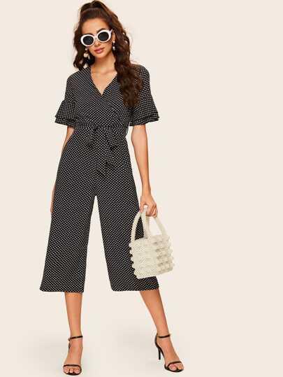 e115137510 Polka Dot Flounce Sleeve Belted Jumpsuit
