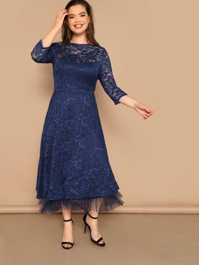 602e4c00ff7 Plus Mesh Ruffle Hem Lace Dress