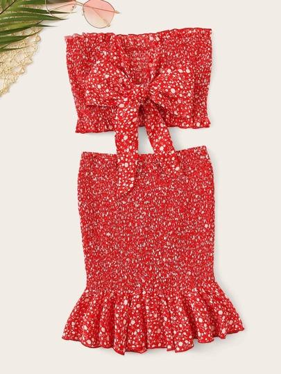 a3a1744398 Frilled Trim Knot Dot Bandeau Top   Skirt Set