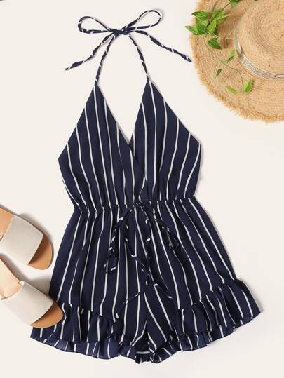 99d98a60a58a Striped Ruffle Hem Open Back Halter Jumpsuit