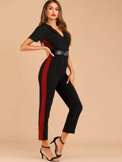 570c4e65514d Cut And Sew Belted Jumpsuit