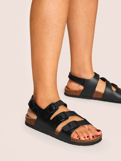182c6283c878 Buckle Strap Decor Slingback Sandals