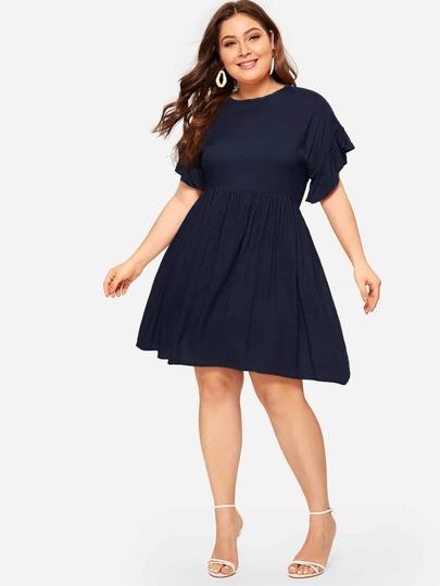 8262866961e Plus Ruffle Cuff Solid Dress