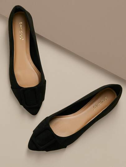 d60ad5aefe65 Buckle Accent Pointed Toe Slip On Ballet Flats