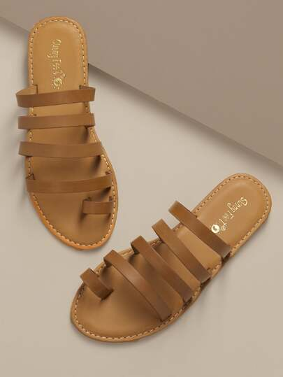 d57507bed416 Top Loop Multi Strap Slide On Flat Sandals