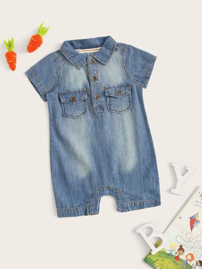 51d8fde37a94 Toddler Boys Dual Pocket Half Placket Denim Jumpsuit