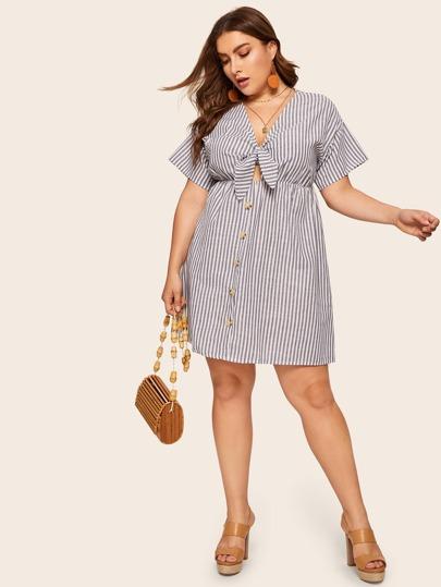fa131c49a7 Plus Knot Front Striped Dress