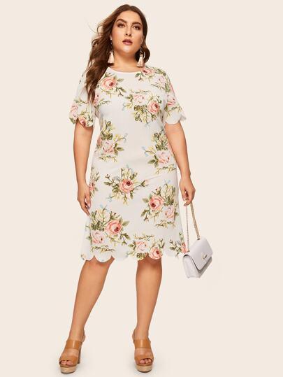 Plus Floral Print Scallop Trim Dress b10a0ecd7