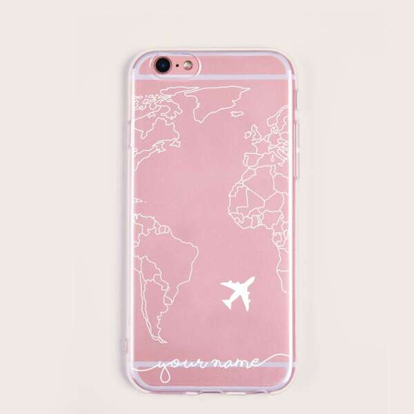 Map & Plane Pattern iPhone Case, White