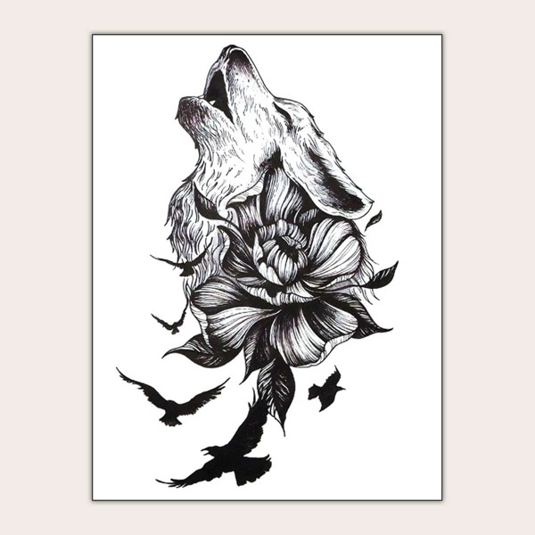 Flower & Wolf Shaped Tattoo Sticker 1sheet, Black