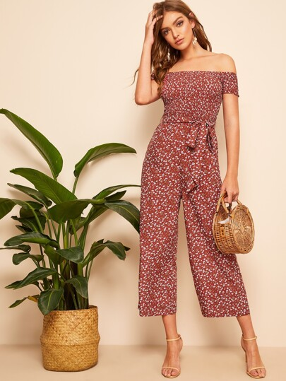 a661faaff5c Shirred Bodice Belted Floral Bardot Jumpsuit