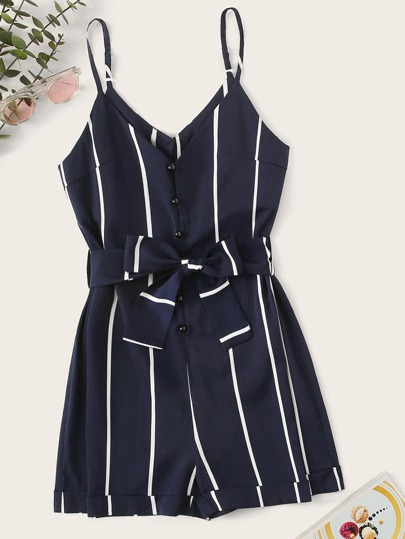 e4a0cd999013 Striped Belted Playsuit