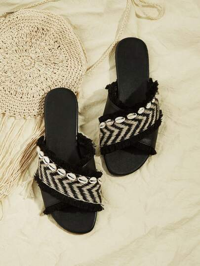 59af5e62bdf Chevron Pattern Criss Cross Slippers