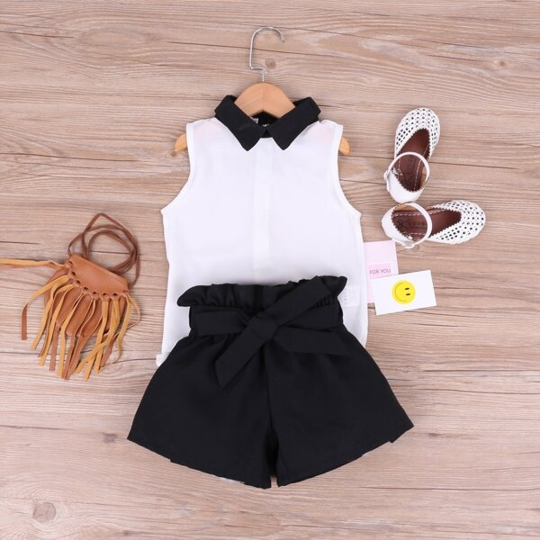 Toddler Girls Contrast Collar Blouse With Belted Shorts, Black and white