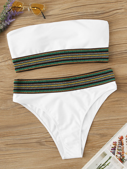 1a013301ea Striped Trim Bandeau With High Waist Bikini Set