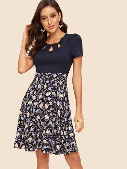 50s Cut Out Insert Floral Fit   Flare Dress 32eb39025f99