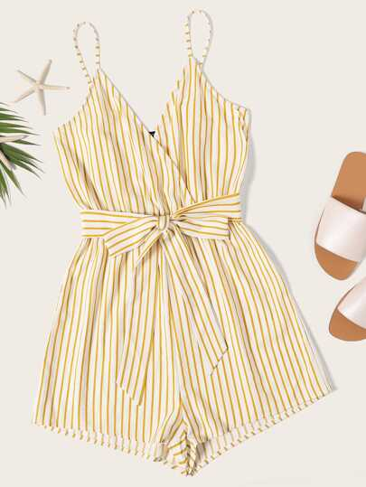 f0f8bb8cc2af Striped Wrap Cami Romper With Belt