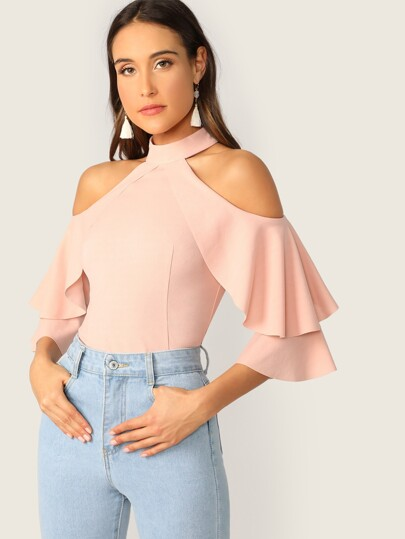 541be7591b72bd Ruffle Halter Cold Shoulder Bell Sleeve Top